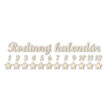 Dekorácie - Drevený nápis Rodinný kalendár, čísielká a hviezdičky - 10529021_