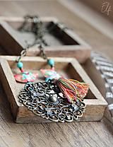 Náhrdelníky - Filigránový náhrdelník s Cloisonne korálkami ♥ - 10528419_