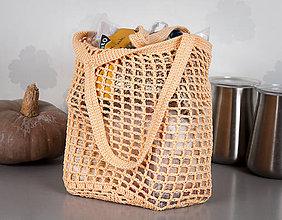 Nákupné tašky - Sieťovka háčkovaná - marhuľová -