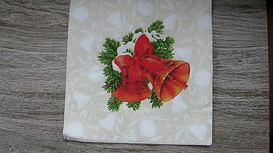 Papier - Servítka Vianočné zvončeky, 1 ks - 10526025_