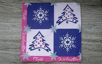 Papier - Servítka Vianočná, stromčeky, vločky, 1 ks - 10526044_