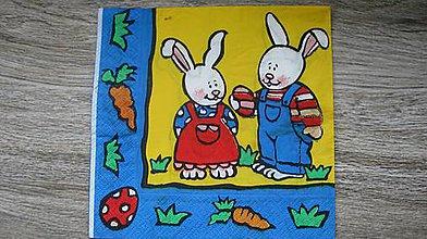 Papier - Servítka veľkonočná, zajačiky, 1 ks - 10526409_