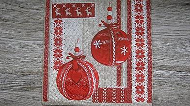 Papier - Servítka vianočná, gule, 1 ks - 10526908_