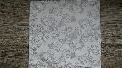 Papier - Servítka strieborný ornament, 1 ks - 10526923_