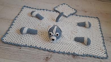 Textil - deka  zvieratková - modrá - 10528273_