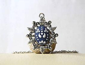 Náhrdelníky - Folk náhrdelník modrý - lístky - 10532044_