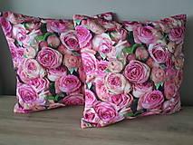 Úžitkový textil - Kvetinová sada (Obliečky s ružami 40×40 cm) - 10532269_