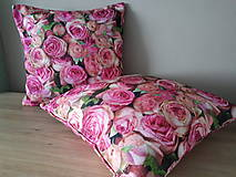 Úžitkový textil - Kvetinová sada (Obliečky s ružami 40×40 cm) - 10532270_