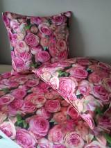 Úžitkový textil - Kvetinová sada (Obliečky s ružami 40×40 cm) - 10532275_