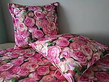Úžitkový textil - Kvetinová sada (Obliečky s ružami 40×40 cm) - 10532276_