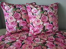Úžitkový textil - Kvetinová sada (Obliečky s ružami 40×40 cm) - 10532277_