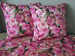 Úžitkový textil - Kvetinové sady (Obliečky s ružami 40×40 cm) - 10532277_
