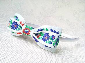 Ozdoby do vlasov - Folklore headband (Biela) - 10532668_