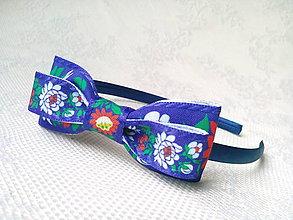 Ozdoby do vlasov - Folklore headband (Modrá) - 10532674_