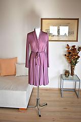 Šaty - Zavinovací úpletové šaty APRIL, starorůžová - 10532652_
