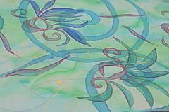 Šály - ALOE - maľovaná hodvábna štóla. - 10529817_