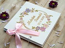 Papiernictvo - Svadobná kniha hostí, drevený fotoalbum - venček2 - 10531109_