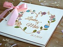 Papiernictvo - Svadobná kniha hostí, drevený fotoalbum - venček3 - 10531832_