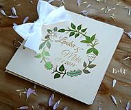 Papiernictvo - Svadobná kniha hostí, drevený fotoalbum - venček4 - 10532234_