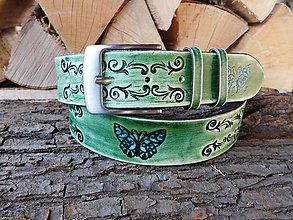 Opasky - Kožený opasok - Motýľ - 10531091_
