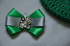 Odznaky/Brošne - Zeleno-sivá mini brošňa - 10529920_