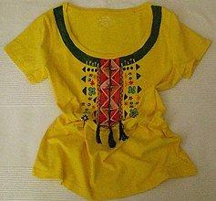 Tričká - Žlté tričko + strapce - 10529383_