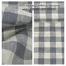 Textil - FRENCH GREY checks...100% len metráž - 10529171_