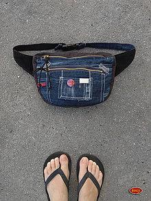Iné tašky - recy riflová ledvinka, tmavá 3D, ZeroWaste - 10529691_