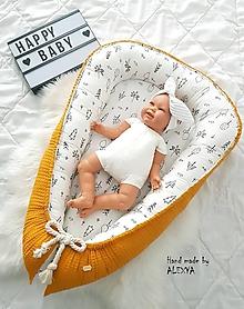 Textil - Hniezdo pre bábätko z vafle bavlny v horčicovej farbe - 10531571_