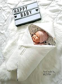 Textil - Zateplená vafle deka so strieškou v smotanovej farbe - 10531630_