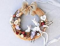 Dekorácie - Jarný veniec so zajačikmi - 10532541_