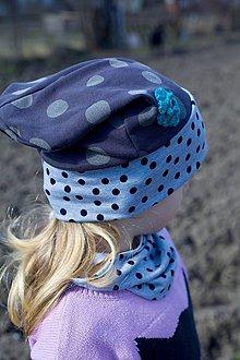Detské čiapky - Bodkovaná čiapka s nákrčníkom - 10530580_