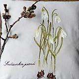 Úžitkový textil - Vankúš ručne maľovaný - snežienky - 10529143_