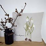 Úžitkový textil - Vankúš ručne maľovaný - snežienky - 10529145_