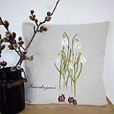 Úžitkový textil - Vankúš ručne maľovaný - snežienky - 10529146_
