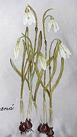 Úžitkový textil - Vankúš ručne maľovaný - snežienky - 10529147_