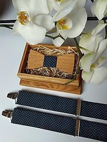 Doplnky - Pánsky drevený motýlik a traky - 10530584_