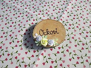 Darčeky pre svadobčanov - Drevené placky/kolieska s vypáleným nápisom a ružičkami - rôzne (Ockovi) - 10532709_