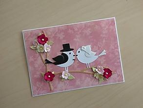 """Papiernictvo - Svadobná pohľadnica """"Vtáčiky II"""" - 10532794_"""