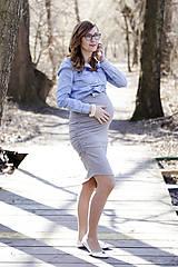 Tehotenské oblečenie - Tehotenská sukňa DIAGONAL svetlosivá - 10532800_