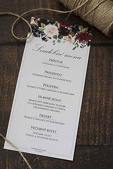 """Papiernictvo - Svadobné menu """"Bordový kvet"""" - 10530389_"""