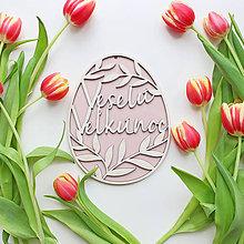 Dekorácie - Veľkonočné drevené vajíčko ružové - 10531870_