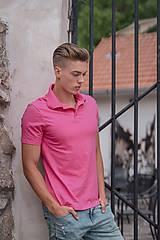 Oblečenie - Pánske pólo tričko cyklaménovo ružové - 10529139_