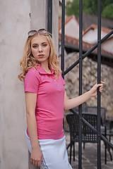 Tričká - Dámske pólo tričko cyklaménovo ružové - 10529161_
