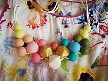 Detské doplnky - Silikónový set dojčenský náhrdelník a retiazka na cumlík