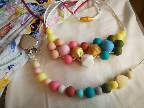 Silikónový set dojčenský náhrdelník a retiazka na cumlík