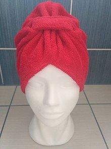 Čiapky - Kozmetický turban na vlasy - červený - 10531147_