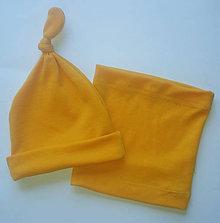 Detské čiapky - Merino čiapočka s uzlíkom a nákrčníkom - 10529373_
