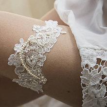 Bielizeň/Plavky - Smotanový svadobný podväzok