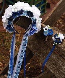Ozdoby do vlasov - Svadobná čelenka modrá ruža - 10531416_